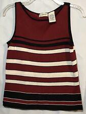 White Stag Sleeveless Knit Sweater Top Burgundy Black Beige Stripe Ladies Small