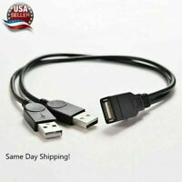 USB 2.0 Female to 2 Dual USB Male Power Adapter Y Splitter Cable Cord Connector