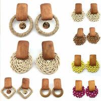 Fashion Women Handmade Wood Bamboo Rattan Dangle Drop Earrings Cahrm Jewelry