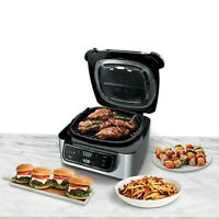 4-in-1 Indoor Grill w/ 4-Quart Air Fryer Roast Bake Cyclonic Grilling Technology