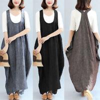 US STOCK ZANZEA Women Sleeveless Loose Suspender Skirt Casual Long Straps Dress