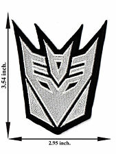 White Decepticon Transformers Movie Motorcycle Logo Applique Iron on Patch Sew
