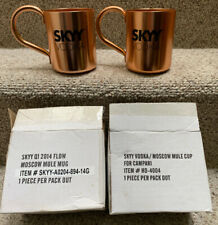 SKYY Vodka Moscow Mule Mugs Cups Copper with Handles-Lot of 2-Pair-Box Included