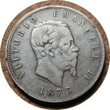 elf Italy Kingdom 5 Lire 1873 M BN Silver