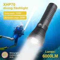 Scuba Diving XHP70.2 LED Waterproof Dive Torch Light underwater flashlight 100m