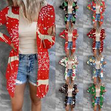 Damen Strickjacke Langarm Cardigan Tops Freizeitshirt Bluse Longtop Weihnachten