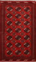 Traditional Bokhara Oriental Hand-Knotted Area Rug Geometric Wool Carpet 4x6 RED