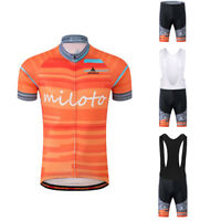Men's Cycle Clothing Set Orange Cycling Jersey and Padded (Bib) Shorts Kit S-5XL