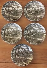 """Myott Royal Mail Brown tea cup SAUCERS set of 5 Staffordshire England 5.5""""W"""
