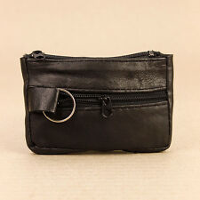 Handy Soft Black Faux Leather Zip Key Case Holder Coin Purse Keyring 3 Sections