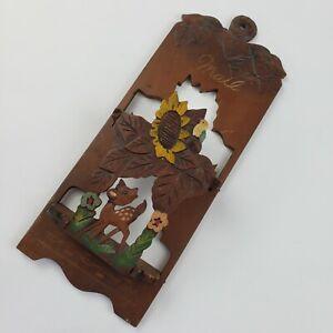 Vintage Carved Wooden Deer Fold Out 3D Mail Letter Holder Wall Hanging Sunflower