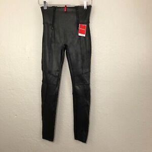 SPANX Faux Leather Hip-Zip Leggings Stretchy Skinny Pants Moto size Medium X14