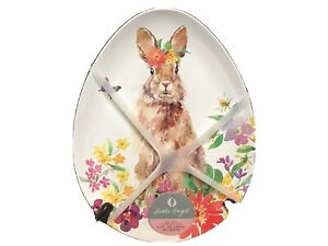 Darbie Angel Bunny Plates Egg Shaped Holiday Easter BPA Free Set Of 4 NEW