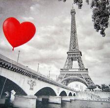 Deko Wandbild Paris Eiffelturm Brücke Fluß Seine Herz Luftballon Geschenkidee