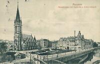 Ansichtskarte Pforzheim 1913 Melanchtonplatz Stadtkirche Elektricitätsw (Nr.845)