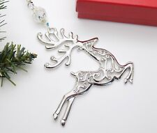 Swarovski Bead Silver Plated REINDEER CHRISTMAS Tree Decoration Ornament