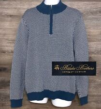 Brooks Brothers Men Blue White Supima Cotton Knit Long Sleeve Pullover Sweater L