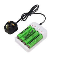4 X 3.7V 18650 2400mAh Li-ion Rechargeable Battery+Charger For Flashlight Torch