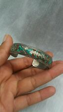 turquoise coral inlay cuff bracelet Nice Native american Navajo sterling Nakai
