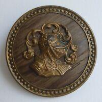 Bouton ancien - Laiton / fond Bois - 40 mm -  Paris Back Wood Button