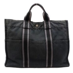 HERMES Handbag canvas black