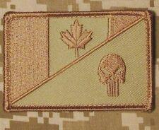 CANADA FLAG PUNISHER SKULL TACTICAL MILITARY MORALE DESERT VELCRO PATCH