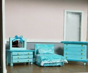 Dollhouse Bedroom Furnitures  1:16 Scale set 3 pieces OOAK  Turquoise