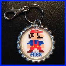 Personalized SUPER MARIO 8 Bit  -Bottle Cap,KeyChain or Zipper Pull For Backpack