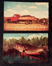 2 Vintage Fishing Postcards Color Funny Trout Bass Canoe Truck Bait Humor Dad