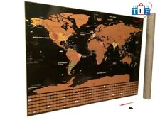 Scratch Off World Map 32 x 23 Travelers Premium Quality Wall Poster w/U.S States