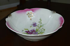 Vintage Bavaria Bowl  Pink - White - Purple - Green - Gold - Scalloped Edges