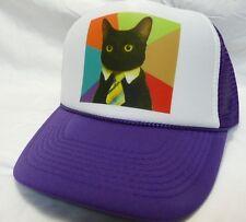Business Cat Trucker Hat mesh hat snapback hat purple