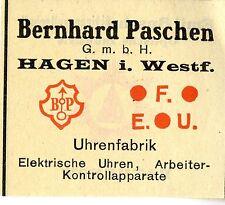 Bernhard Paschen Hagen UHRENFABRIK Trademark 1912
