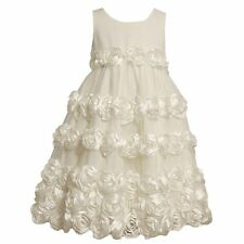 Bonnie Jean Girls Rosette Dress in Ivory Size 12 NWT