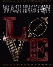Washington Redskin Football Love Rhinestone Iron on Transfer               EEP8