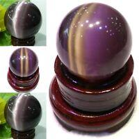 40mm Purple Cat-eye Opal Natural Quartz Crystal Healing Stone Ball Sphere Decor