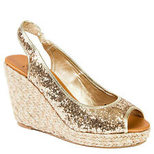Black Gold Silver Glitter Platform Wedge Open toe Espadrille Women shoes Laboom