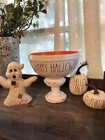 "Rae Dunn Halloween Ceramic LL ""HAPPY HALLOWEEN"" Mixing Bowl Orange Inside"
