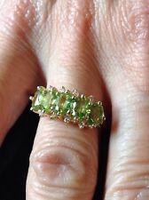 Vintage 14K Yellow Gold Genuine Peridot Diamond Ring Size 7