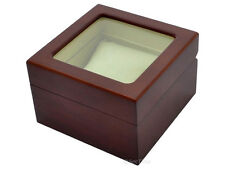 New Classic Wooden Watch Box Case for 1 Wristwatch with Glass Window Lid Brown