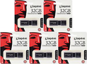 5 Pack Kingston 32GB DataTraveler 32G 100MB/s USB 3.1 Flash Drive DT100G3/32GB