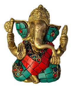 Ganesha Statue | Verziert Messing | Glücksgott Handmade Figur Buddha Skulptur