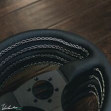 STEERING WHEEL PERFORATED LEATHER WHITE STITCH SPOKE FITS MOMO VIILANTE LEGGERA