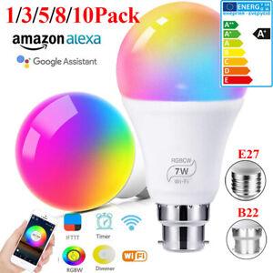 LED WiFi Leuchtmittel Smart Home Lampe Dimmbar Licht Birne E27 B22 Alexa Google