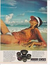 1977 Nikon Nikkor Lens 2 page Print-Ad /Pretty Woman Bikini Wet Shirt