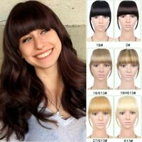 Neat Front Fake Fringe Clip In Bangs Hairpiece Synthetic Straight Hair Extension