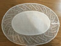 Oval large white cotton table mat / tray cloth