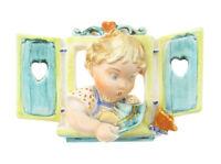 Max Roesler Keramik Porzellan Jugendstil Art Deco Kind am Fenster Schmetterling