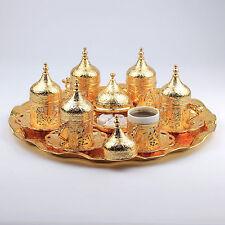 New 27 Pc Ottoman Turkish Greek Arabic Coffee Espresso Serving Cup Saucer Gold