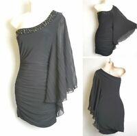 Jane Norman Vintage Y2K 00's Black One Shoulder Kimono Sleeve Wiggle Dress 8